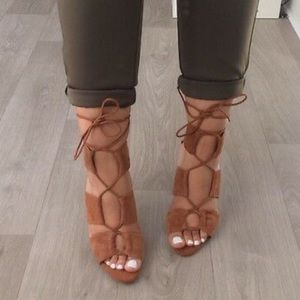 Zara Cognac Lace Up Suede Heels